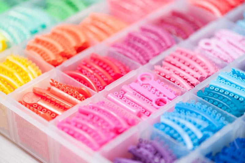 Assortment of colored rubber bands for braces